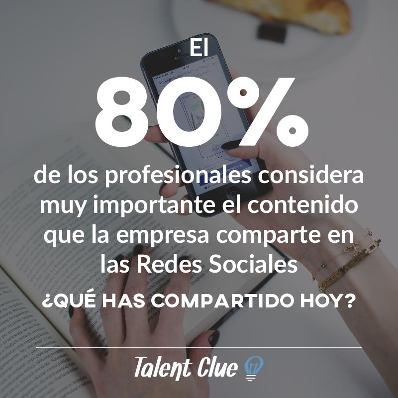 80% de los profesionales considera muy importante el contenido que las empresas comparten en Redes Sociales