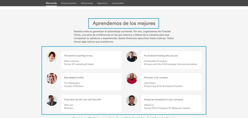 Página de Empleo en Trabaja en AirBnb