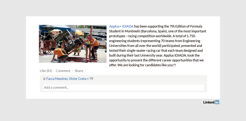 Perfil LinkedIn Empresa Applus+ IDIADA