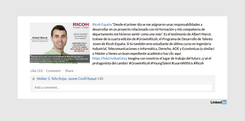 Perfil LinkedIn Empresa Ricoh España