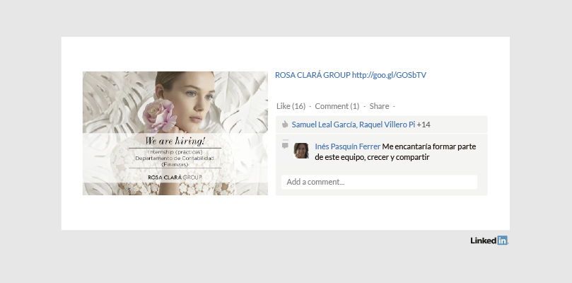 Rosa Clará Group Perfil en Linkedin
