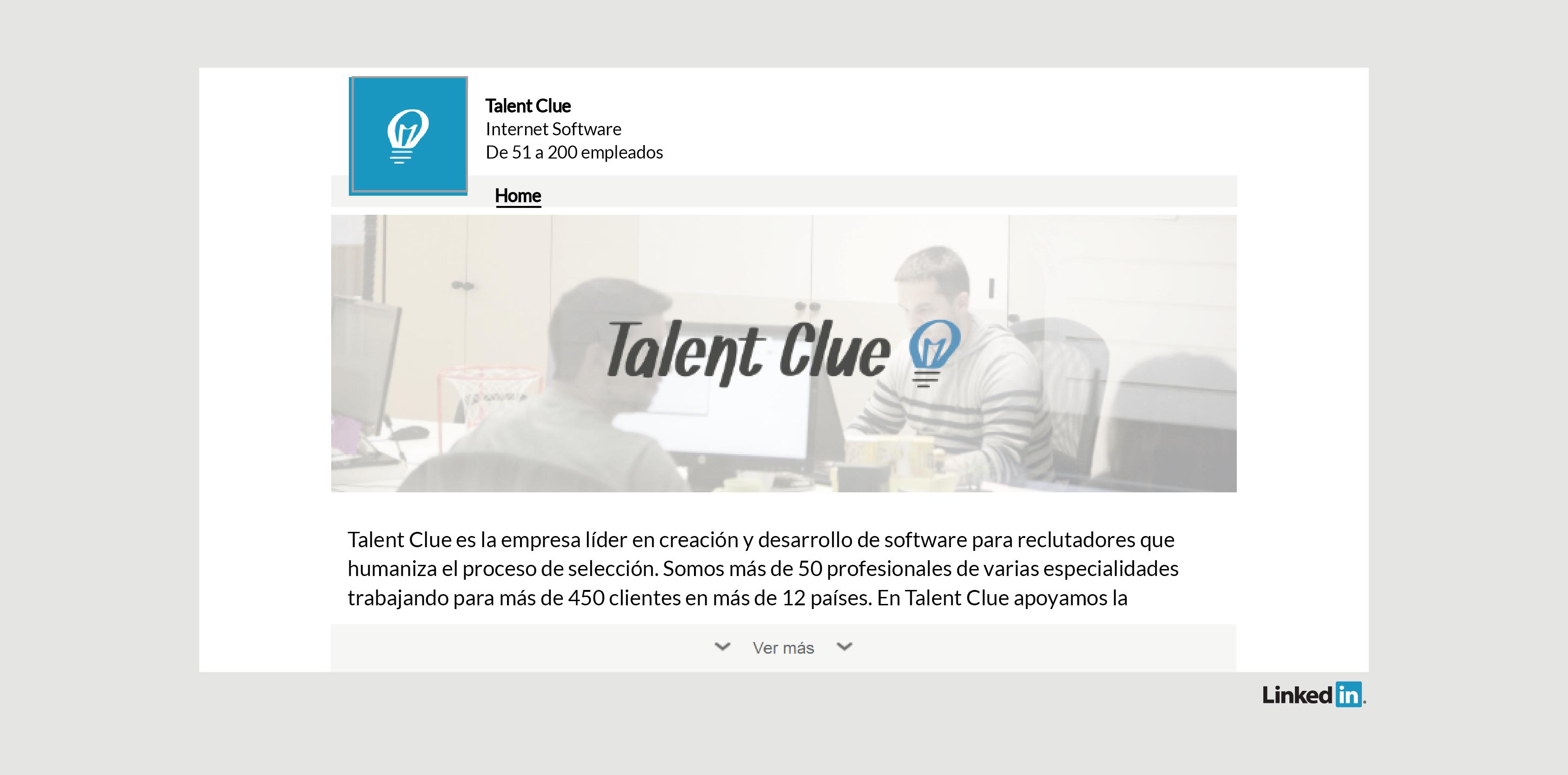 Perfil de LinkedIn de Talent Clue