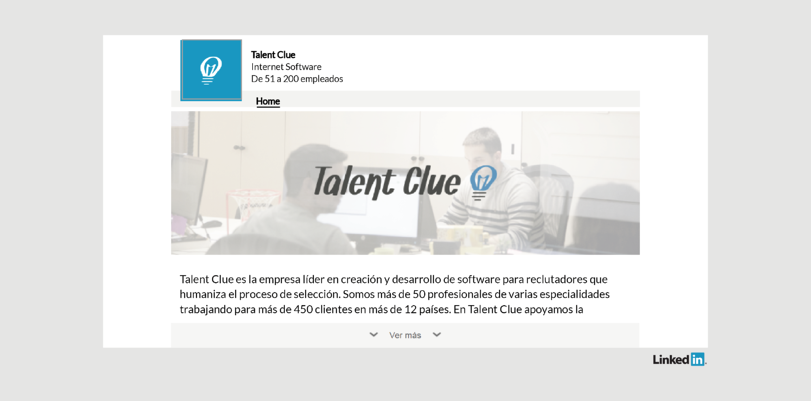 Perfil de LinkedIn de Talent Clue