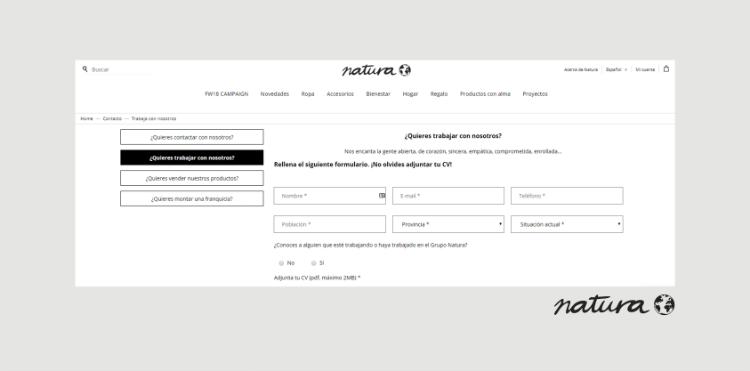 Página de empleo Natura