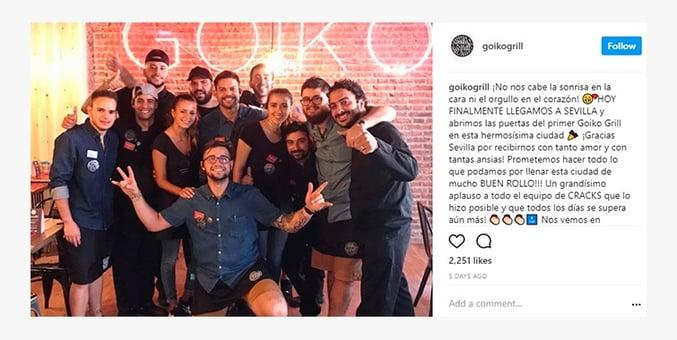 Goiko Grill Employer Branding en redes sociales