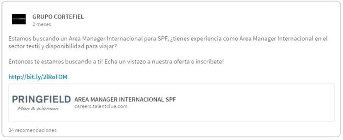 Redes Sociales Grupo Cortefiel