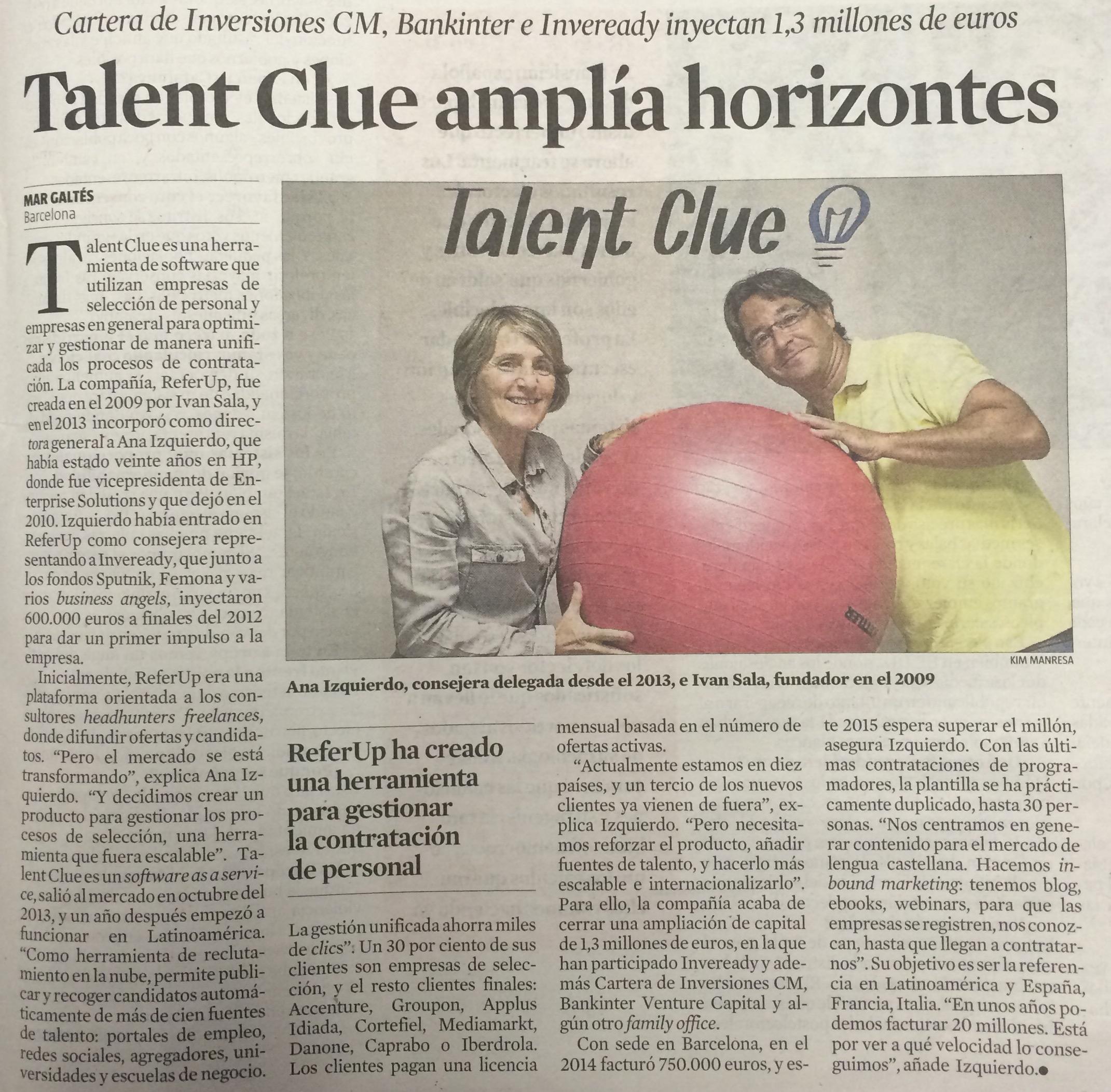 [La Vanguardia] Talent Clue Amplía Horizontes